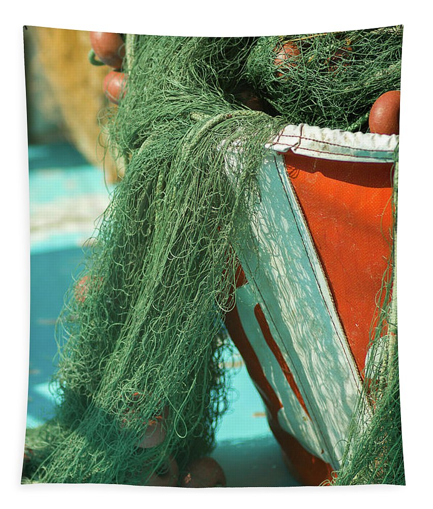 Knot Tapestry featuring the photograph Nets by Stelios Kleanthous