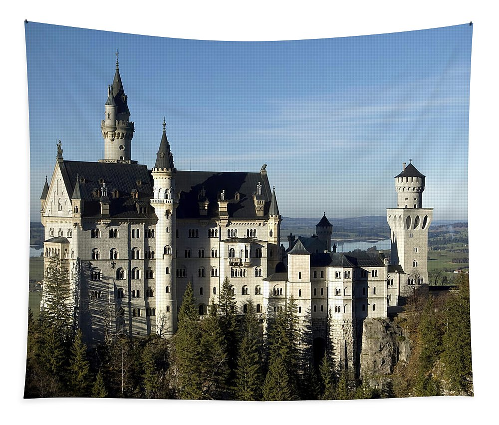 Architecture Tapestry featuring the photograph Neuschwanstein by Mary Lane