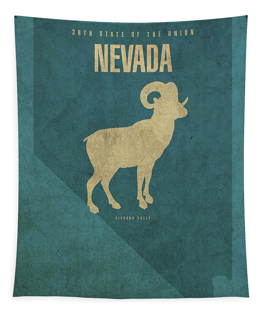 Nevada Tapestry featuring the mixed media Nevada State Facts Minimalist Movie Poster Art by Design Turnpike