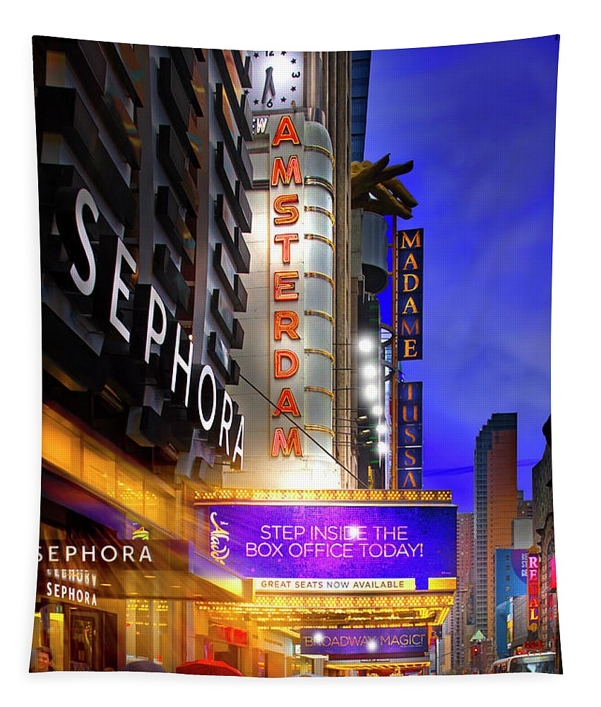 New York Tapestry featuring the photograph New Amsterdam Theatre by Mark Andrew Thomas
