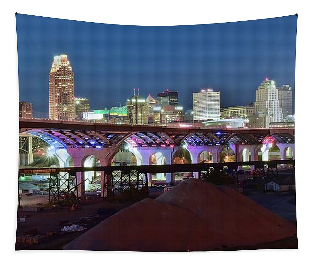 Cleveland Tapestry featuring the photograph New Bridge Pano by Frozen in Time Fine Art Photography