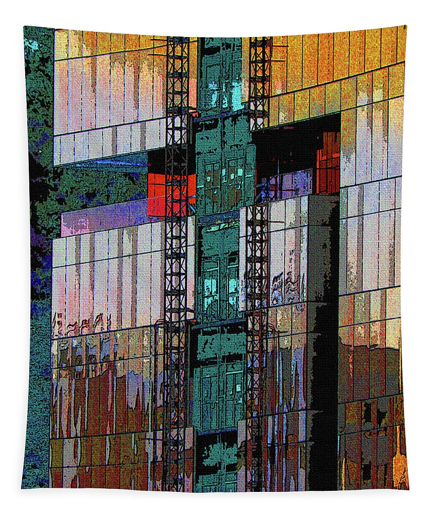 New Building Reflecting Colors Tapestry featuring the digital art New Building Reflecting Colors by Tom Janca