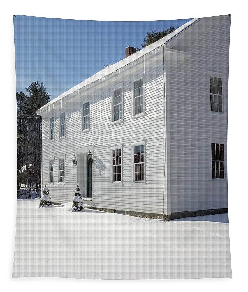 Winter Tapestry featuring the photograph New England Colonial Home In Winter by Edward Fielding