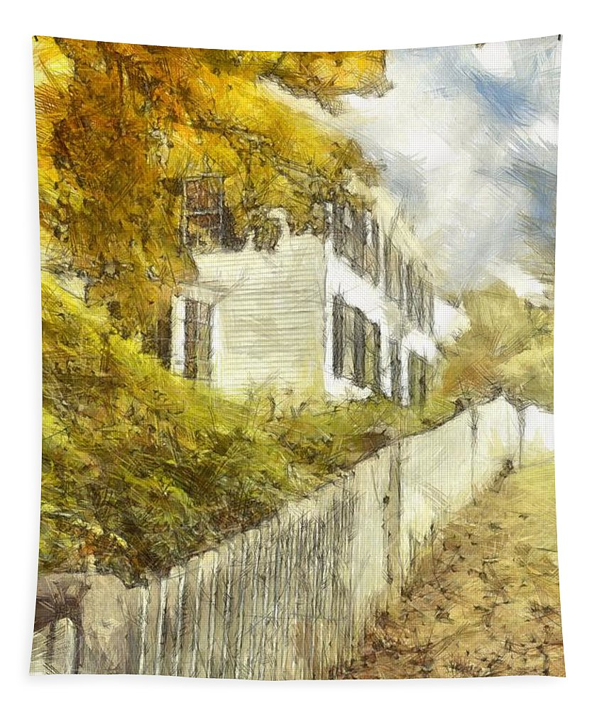 Colored Tapestry featuring the photograph New England Fall Foliage Pencil by Edward Fielding