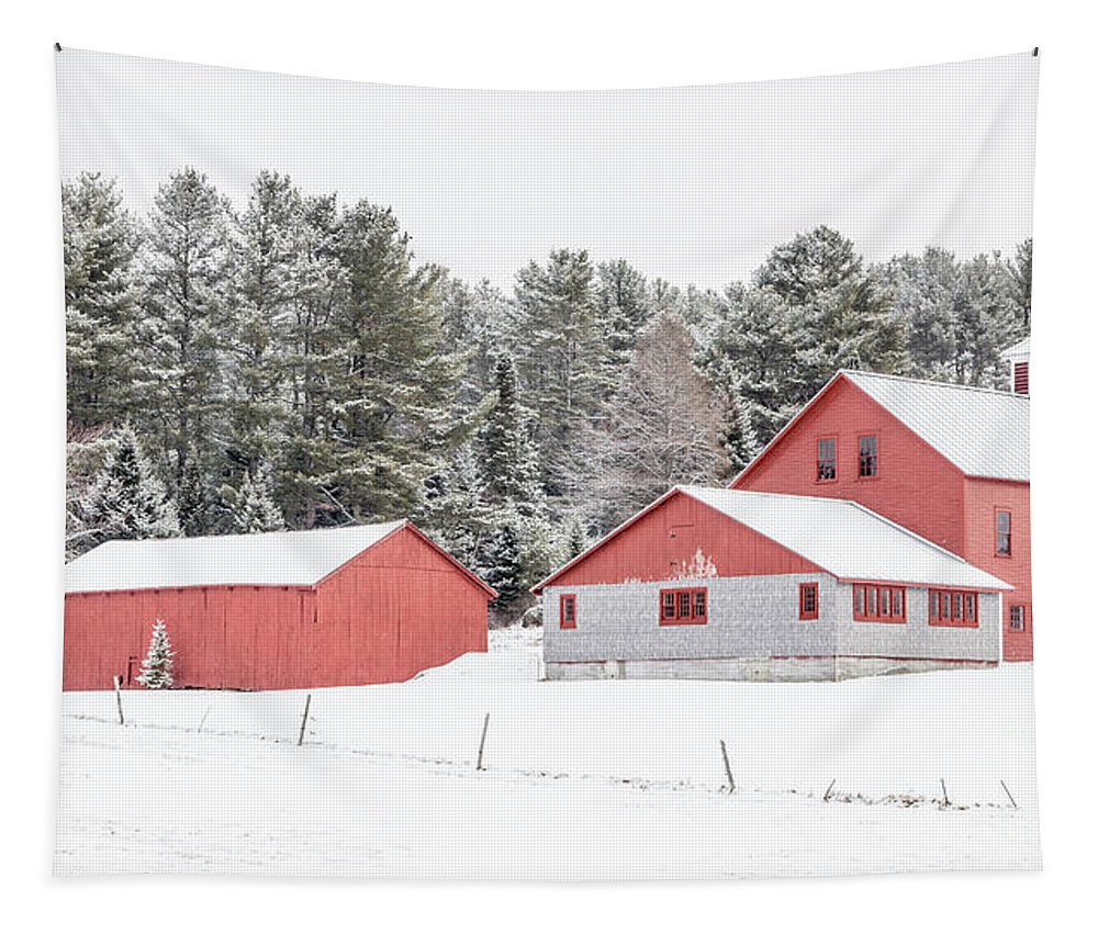 New Hamphire Tapestry featuring the photograph New England Farm With Red Barns In Winter by Edward Fielding