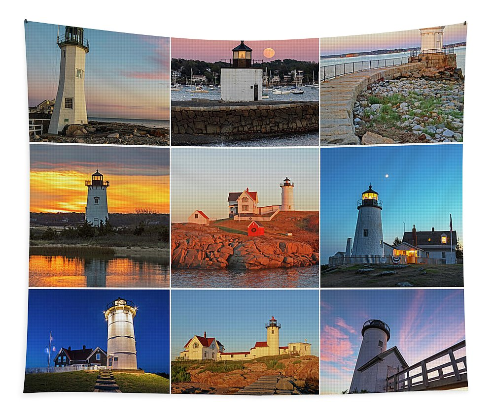 Scituate Tapestry featuring the photograph New England Lighthouse Collage by Toby McGuire