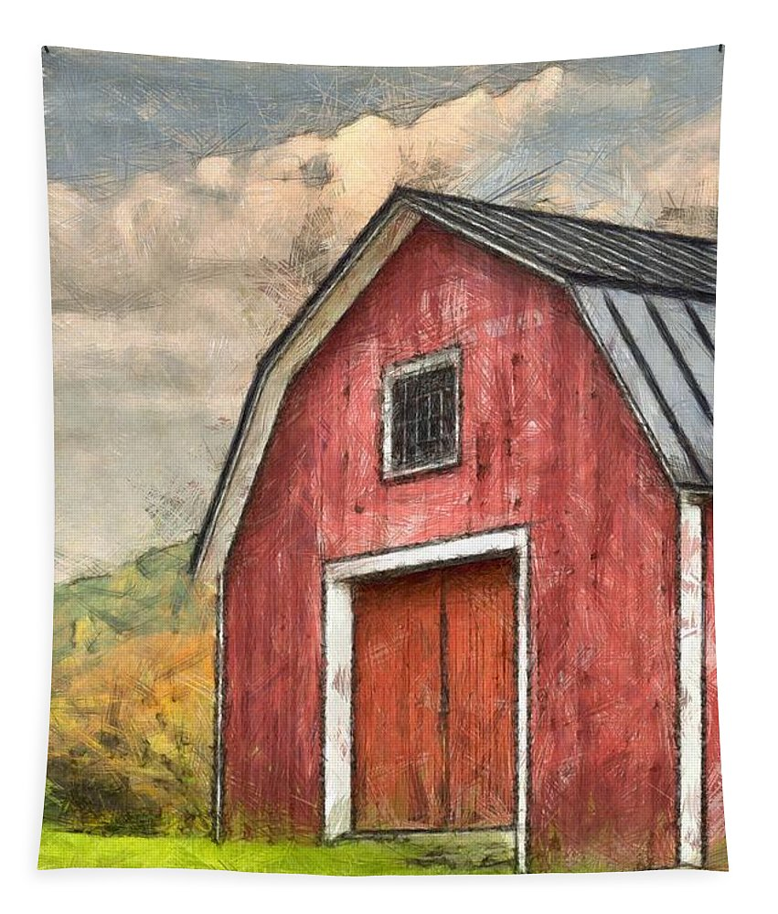 Red Tapestry featuring the photograph New England Red Barn Pencil by Edward Fielding