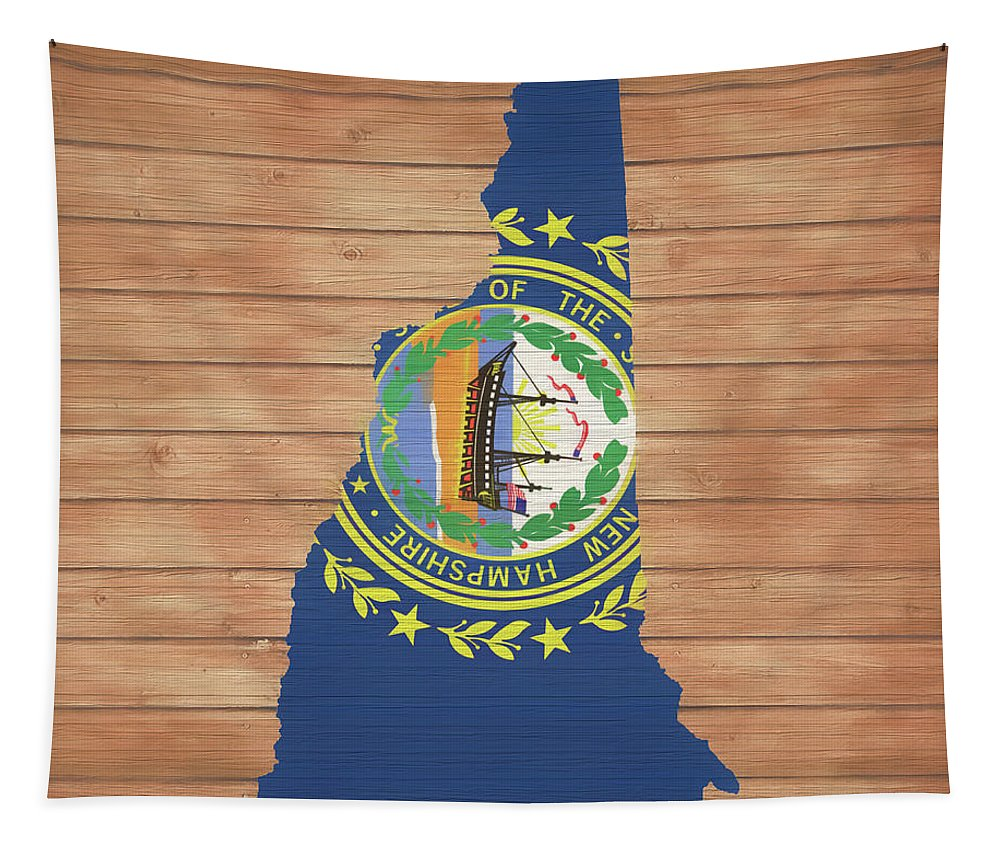 New Hampshire Rustic Map On Wood Tapestry featuring the mixed media New Hampshire Rustic Map On Wood by Dan Sproul