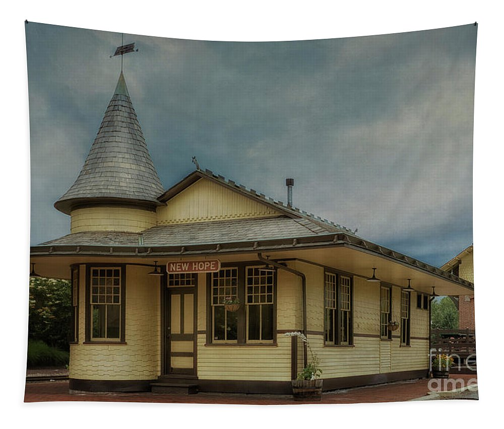 New Hope Train Station Tapestry featuring the photograph New Hope Train Station by Priscilla Burgers