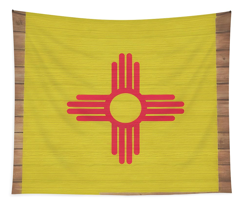 New Mexico Rustic Map On Wood Tapestry featuring the mixed media New Mexico Rustic Map On Wood by Dan Sproul
