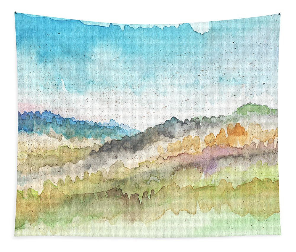 Watercolor Landscape Tapestry featuring the painting New Morning- Watercolor Art By Linda Woods by Linda Woods