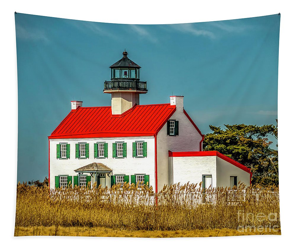 Atlantic Coast Tapestry featuring the photograph New Paint On East Point Lighthouse by Nick Zelinsky