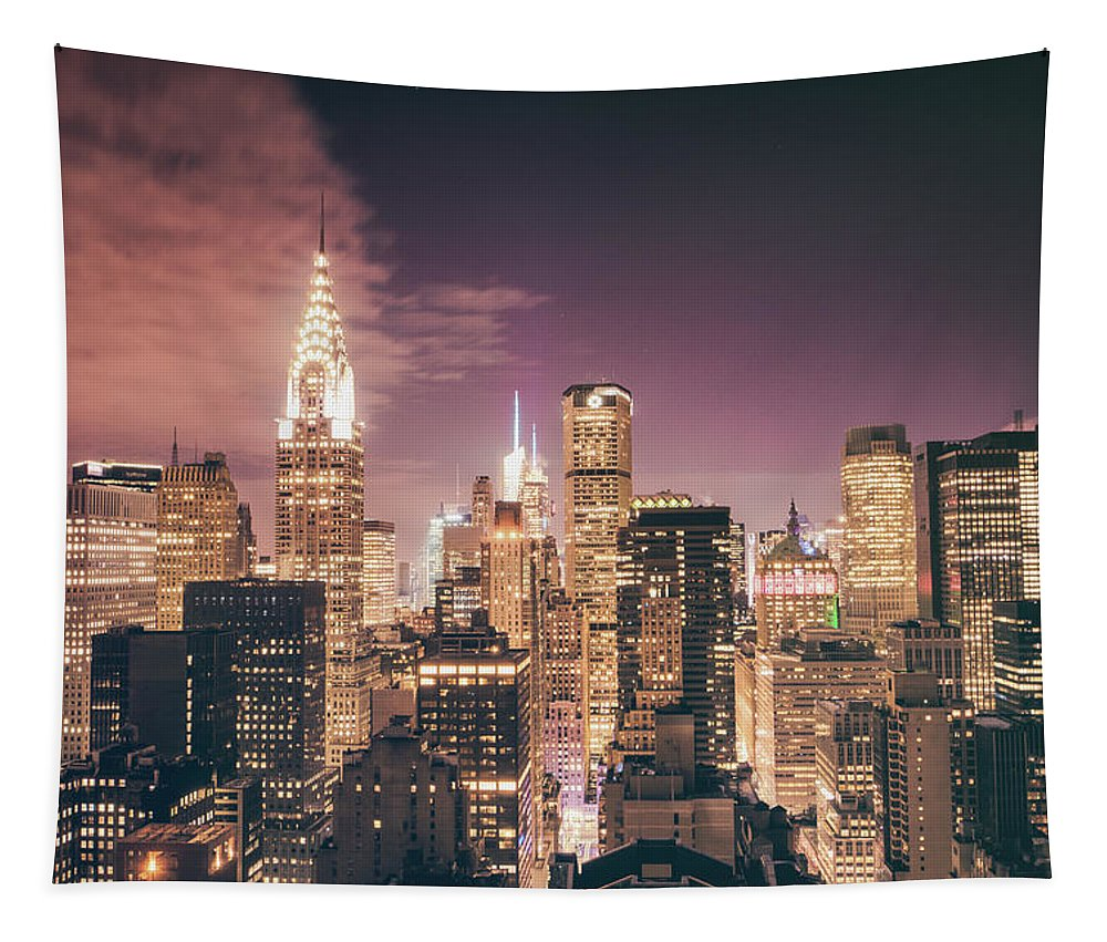 Chrysler Building Tapestry featuring the photograph New York City Skyline - Night by Vivienne Gucwa