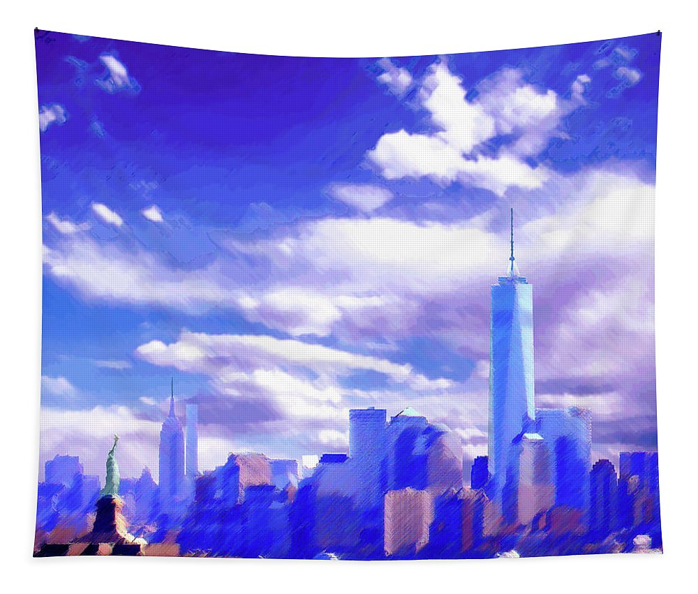 New York City Tapestry featuring the digital art New York City Skyline with Freedom Tower by Steve Karol