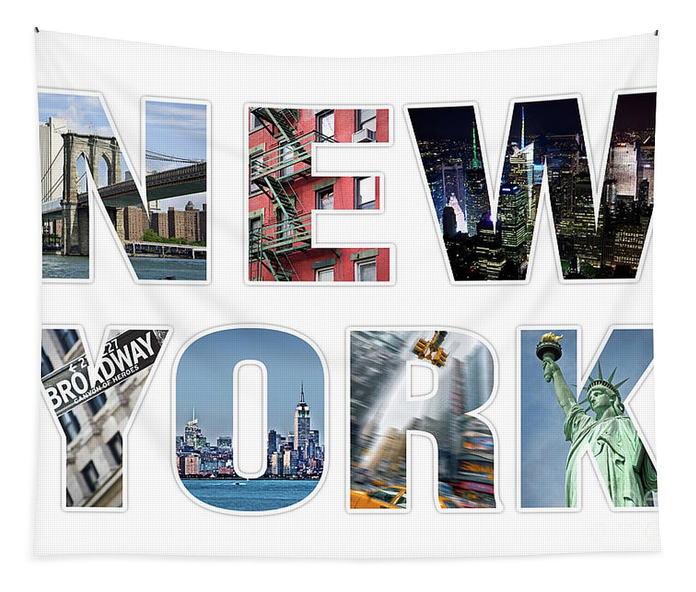 New York Tapestry featuring the photograph New York by Delphimages Photo Creations