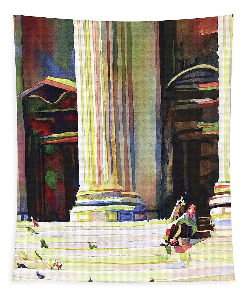 Street Scene Tapestry featuring the painting New York Public Library by Ryan Fox