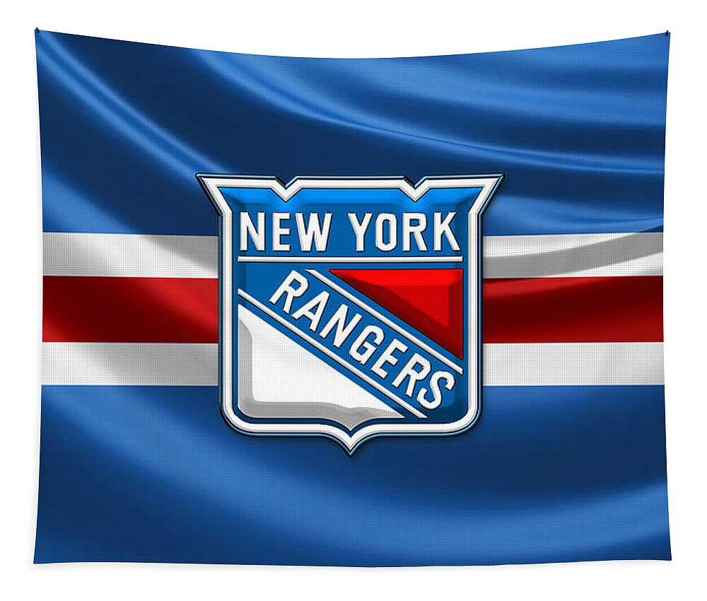 �hockey Hall Of Fame 3d� By Serge Averbukh Tapestry featuring the photograph New York Rangers - 3D Badge Over Flag by Serge Averbukh
