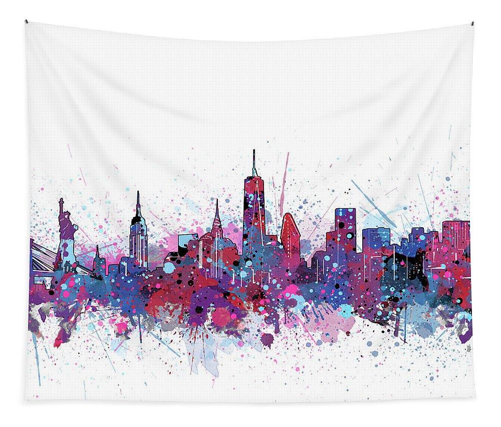 New York Tapestry featuring the digital art New York Skyline Color Splatter by Bekim Art