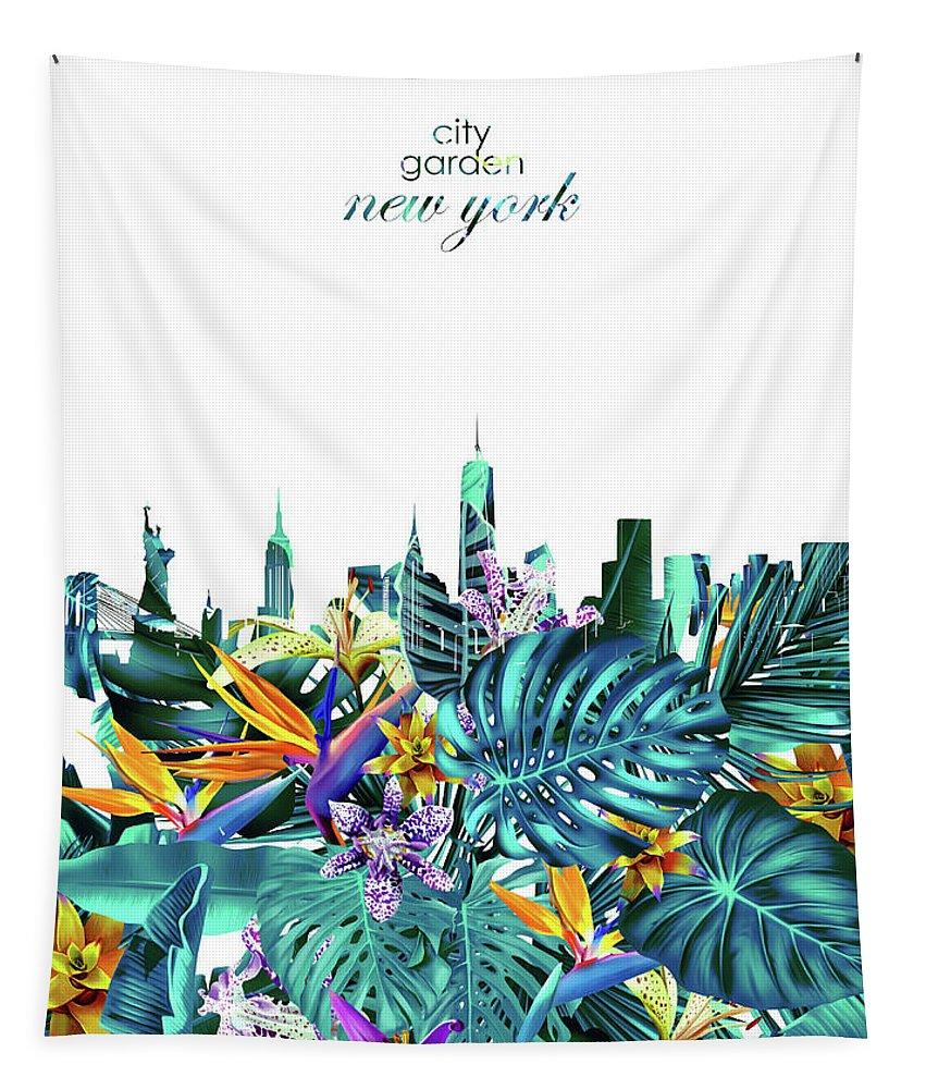 New York Tapestry featuring the digital art New York Skyline Floral 6 by Bekim Art