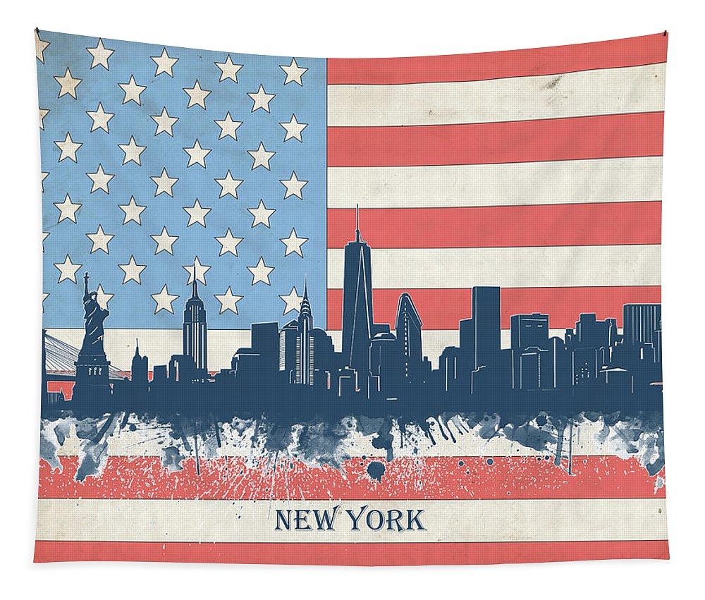 New York Tapestry featuring the digital art New York Skyline Usa Flag 4 by Bekim Art