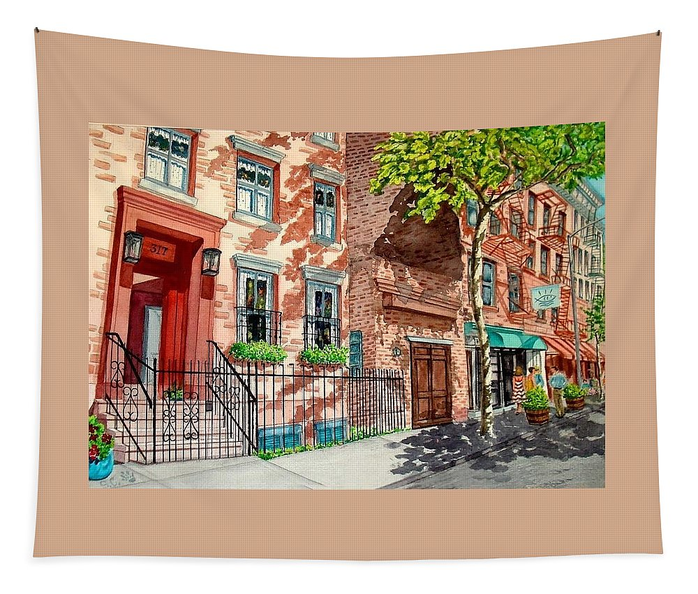 Street Scene Tapestry featuring the painting New York by Sonya Catania