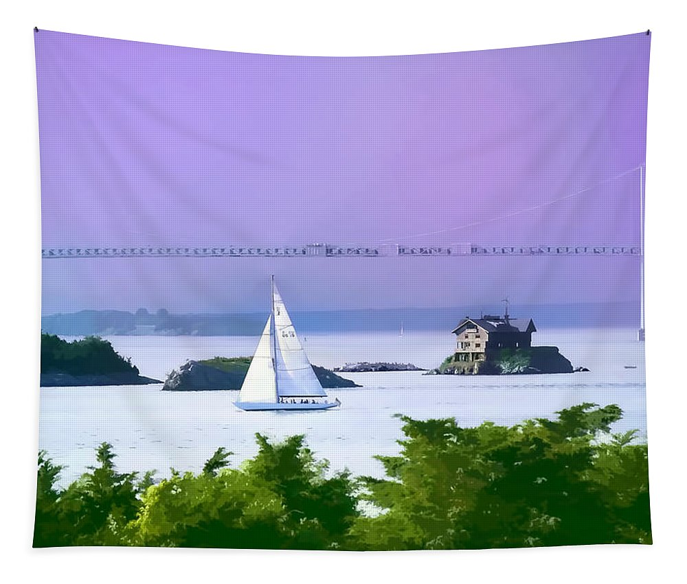 New England Landscape Tapestry featuring the photograph Newport Water Color Effect by Tom Prendergast