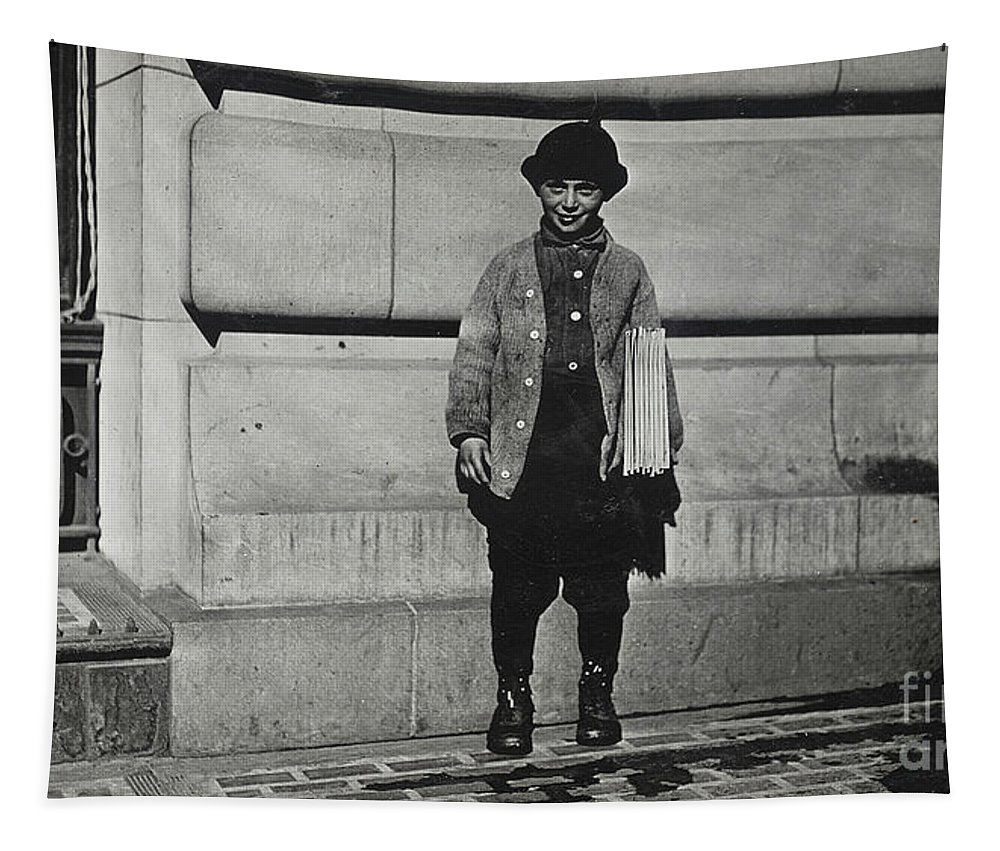 Newsboy Tapestry featuring the photograph Newsboy, 1909 by Lewis Wickes Hine