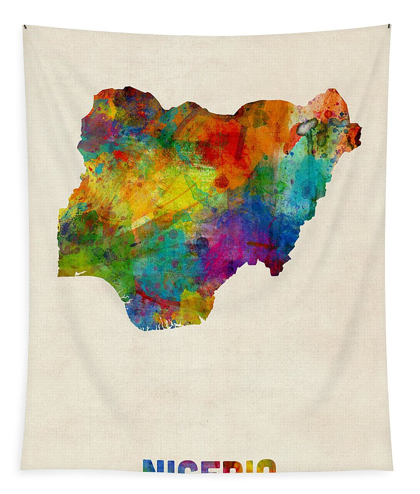 Map Art Tapestry featuring the digital art Nigeria Watercolor Map by Michael Tompsett