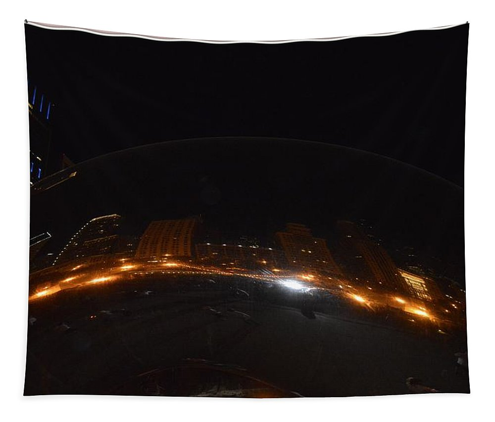 Night At Cloud Gate Tapestry featuring the photograph Night At Cloud Gate by Sonali Gangane