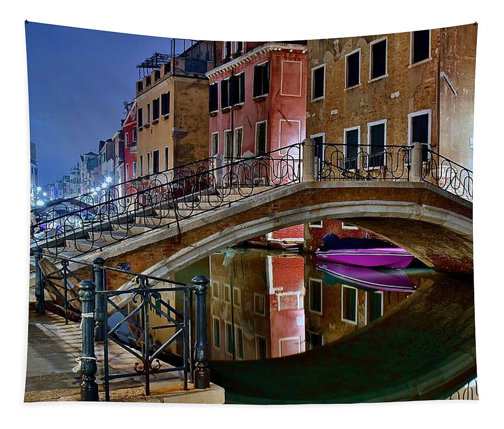 Venice Tapestry featuring the photograph Night Bridge In Venice by Frozen in Time Fine Art Photography