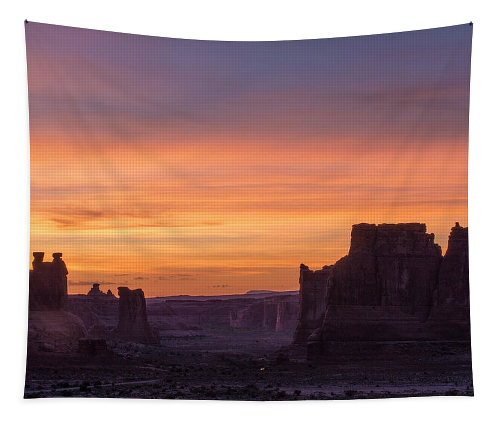 Arches Tapestry featuring the photograph Night Falls Gently by Alex Lapidus