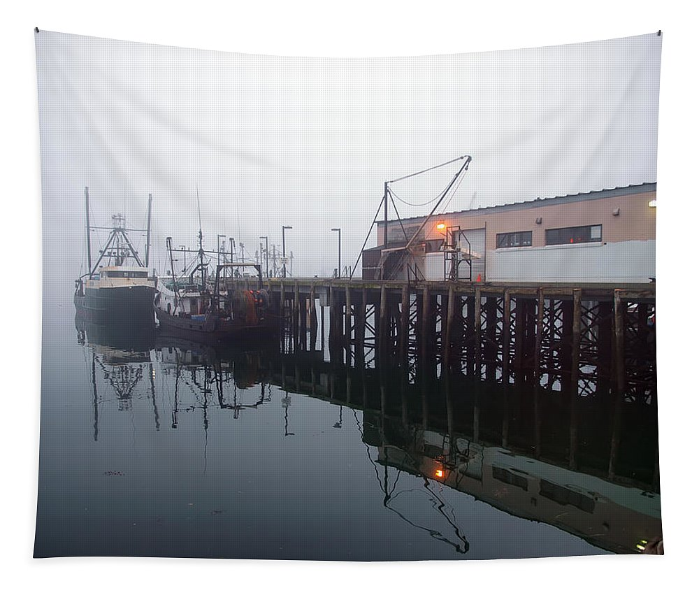Seascape Tapestry featuring the photograph Night Fog Along The Dock by Bob Orsillo