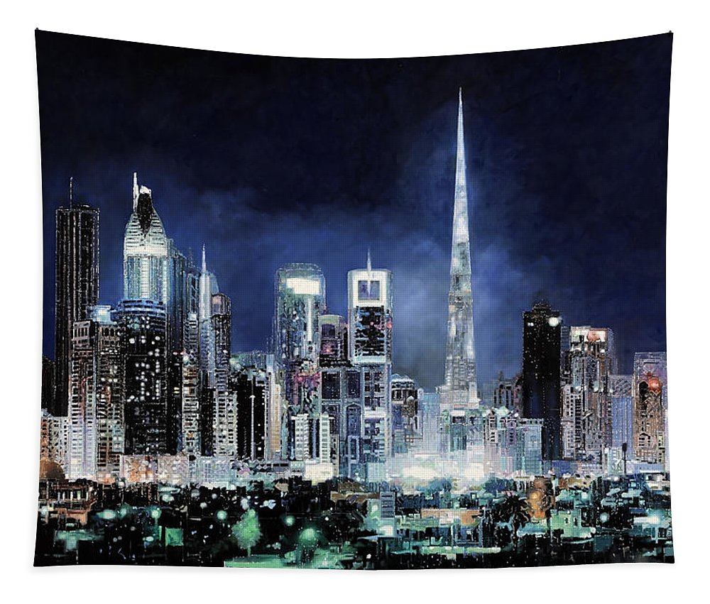 Emirates Tapestry featuring the painting night in Dubai City by Guido Borelli