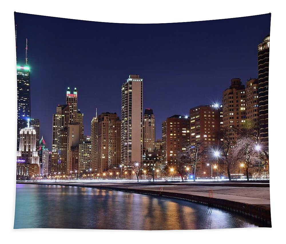 Chicago Tapestry featuring the photograph Night Lights On The Lakefront by Frozen in Time Fine Art Photography