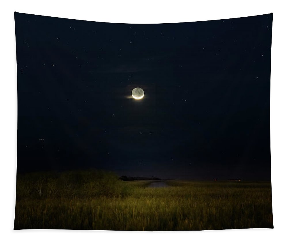 Moon Tapestry featuring the photograph Night Of The Crescent Moon Part Two by Mark Andrew Thomas