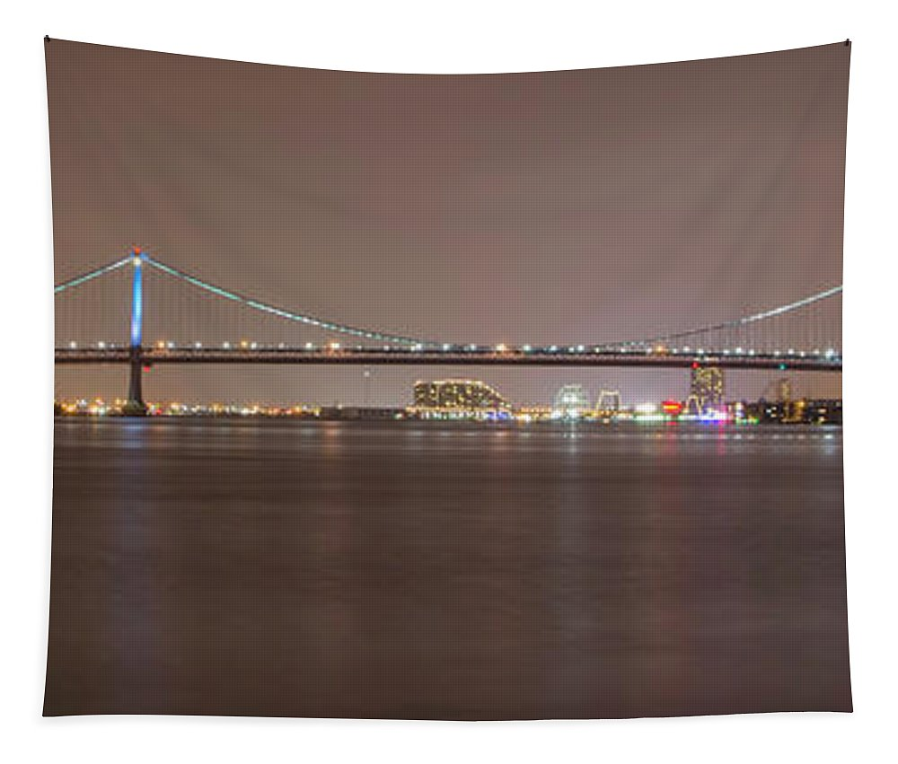 Night Tapestry featuring the photograph Night On The Delaware - The Benjamin Franklin Bridge by Bill Cannon