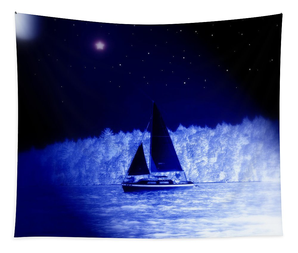 Sailboat Tapestry featuring the photograph Night Sail by Linda Galok