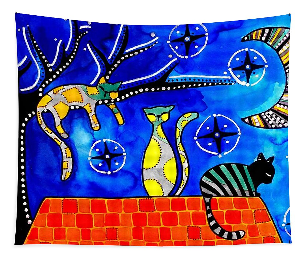 Cat Tapestry featuring the painting Night Shift - Cat Art By Dora Hathazi Mendes by Dora Hathazi Mendes