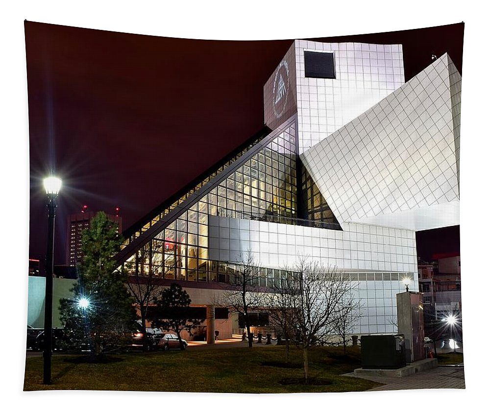 Cleveland Tapestry featuring the photograph Night Time At The Rock Hall by Frozen in Time Fine Art Photography