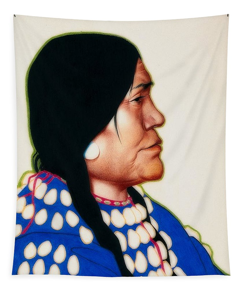 Painting Tapestry featuring the painting Night Woman, A Blackfeet Of Montana by Wilfred Kihn