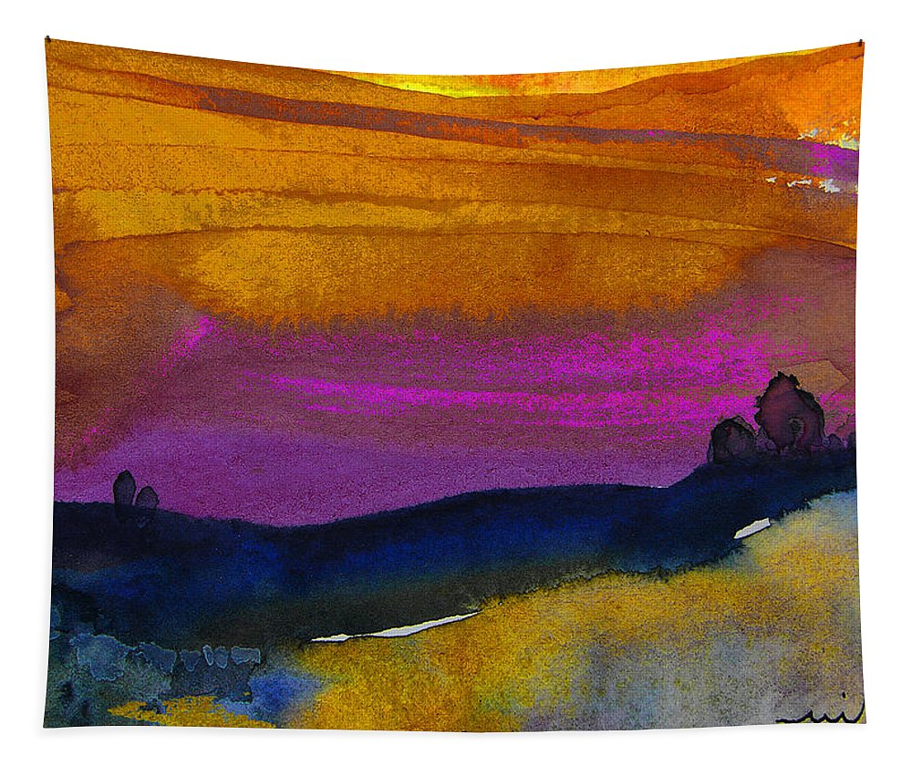 Watercolour Tapestry featuring the painting Nightfall 04 by Miki De Goodaboom