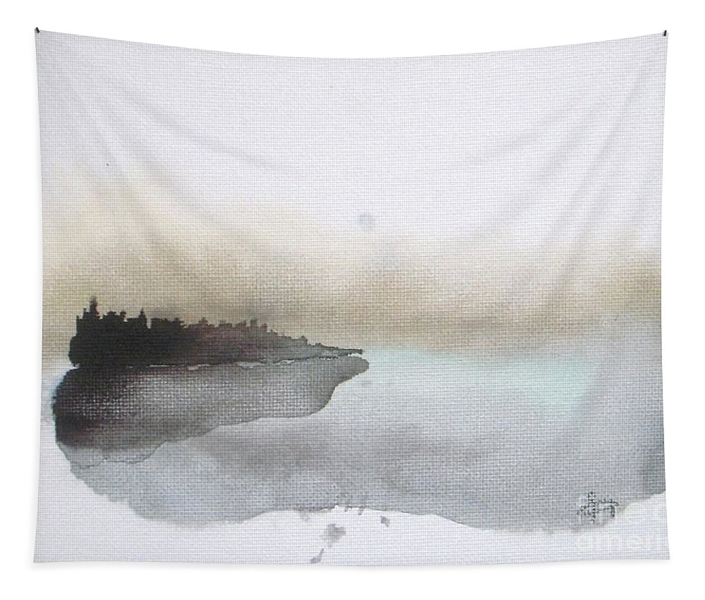 Seascape Tapestry featuring the painting Nightfall on the Lake by Vesna Antic
