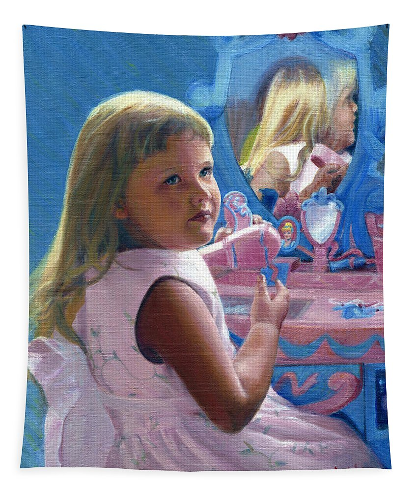 Nina Tapestry featuring the painting Nina And Cinderella by Candace Lovely