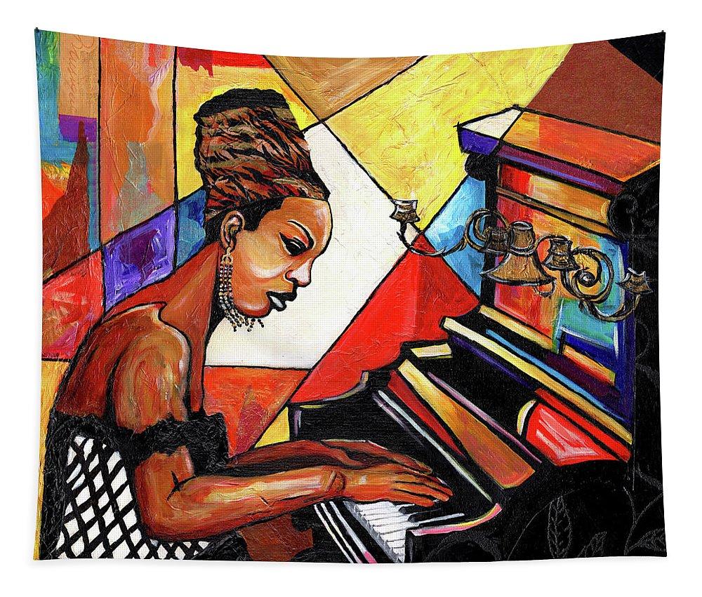 Everett Spruill Tapestry featuring the mixed media Nina Simone by Everett Spruill