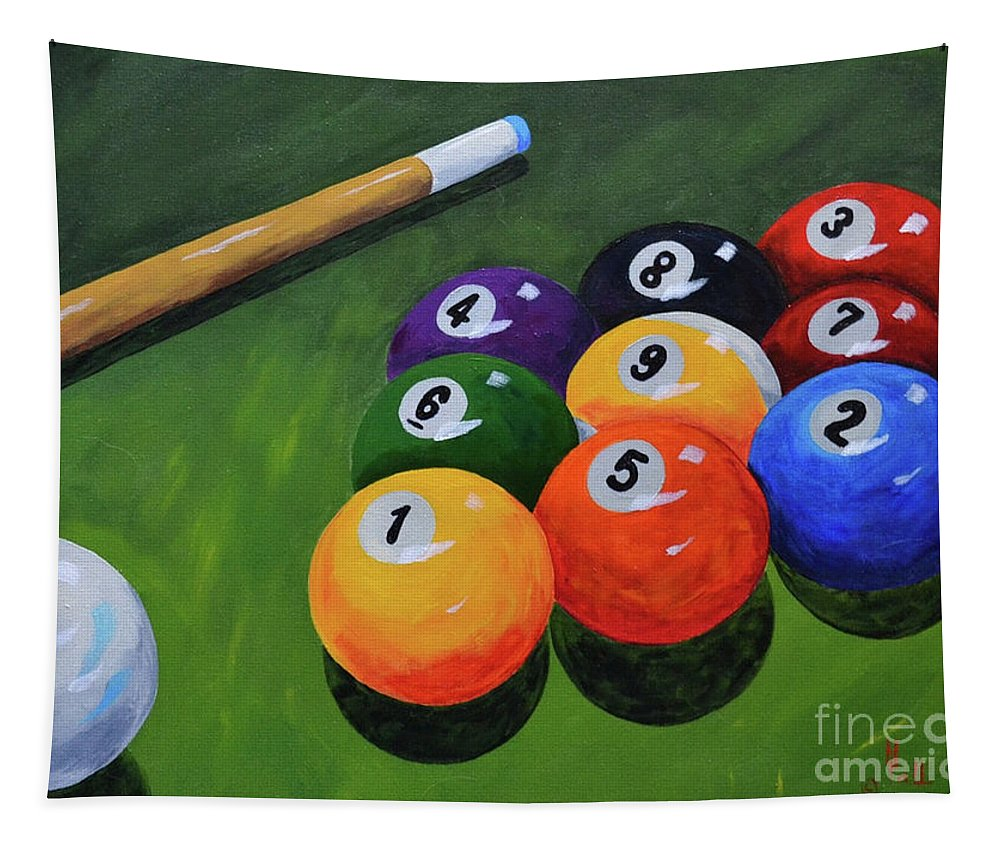 Pool Billiards Balls Nine Ball Games Tapestry featuring the painting Nine Ball by Herschel Fall