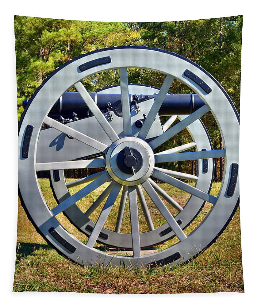 Ninety Six National Historic Site Cannon Wheel Tapestry featuring the photograph Ninety Six National Historic Site Cannon Wheel by Lisa Wooten