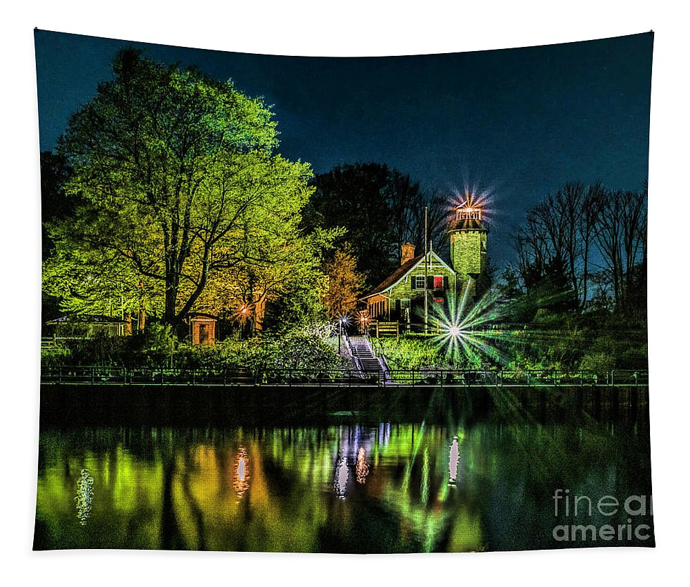 Great Lakes Tapestry featuring the photograph Nite At White River Light by Nick Zelinsky