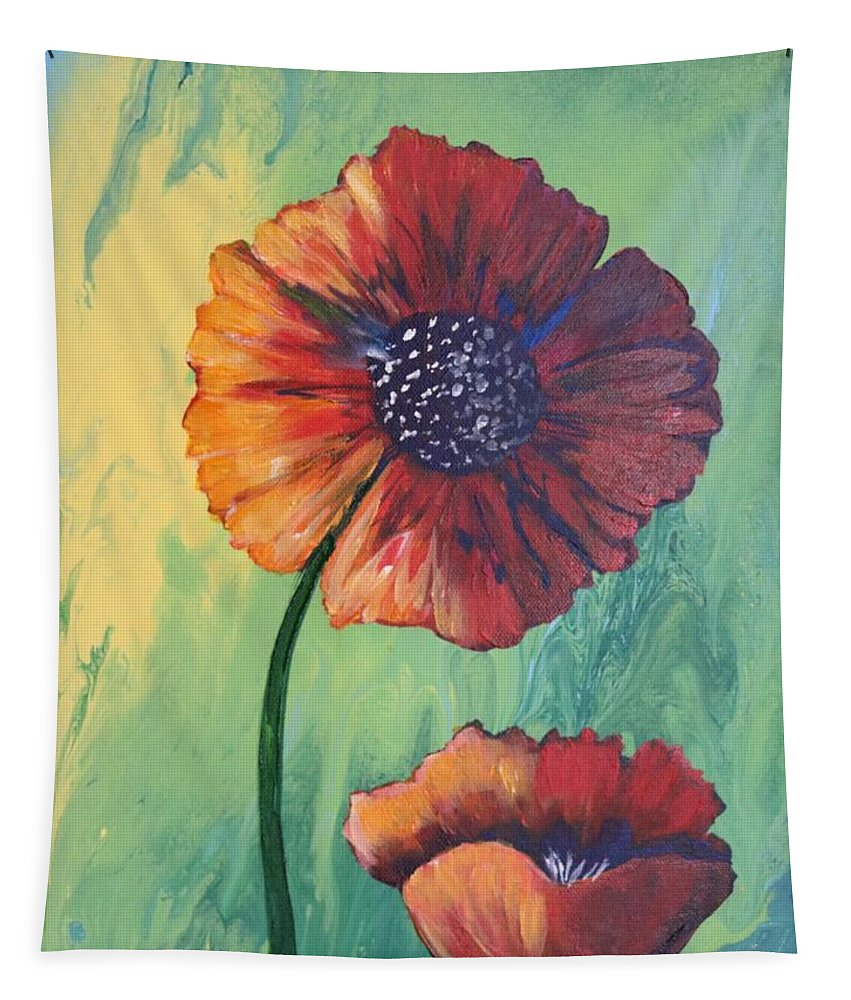 Abstract Tapestry featuring the painting No. 17 Spring And Summer Floral Series by Carole Sluski