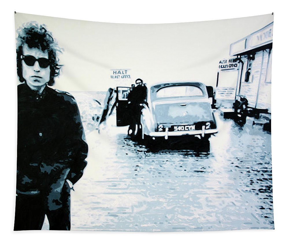 Bob Dylan Tapestry featuring the painting No Direction Home by Ludzska Hood