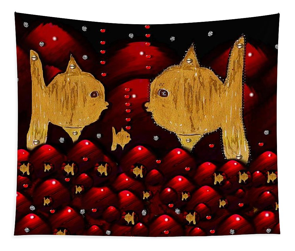 Goldfish Tapestry featuring the mixed media No More Cesium 137 by Pepita Selles
